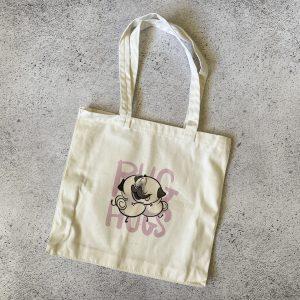 Pug Hugs Tote Bag - Fawn Pug | www.pugpatrolrescueaustralia.com.au